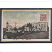 jp07 - Cartão postal antigo (1932), Praça, Convento São Francisco. Colégio Diocesano. João Pessoa.