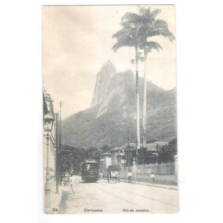 Postal A.Ribeiro 34 circulado em 1910, Corcovado, bonde, Rio de Janeiro.