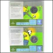 2014 - 2 Reais, Comemorativa Copa do Mundo, futebol, Série completa - 6 moedas no blister.