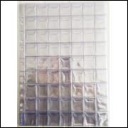 Folha pvc para 63 moedas, furação lateral universal, com aba. (5 unidades)