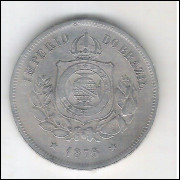 1876 - Brasil-Império, Dom Pedro II, 100 Réis, cuproníquel, mbc/s.
