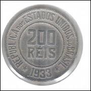 1933 - Brasil, 200 Réis, cuproníquel, mbc++ DATA RARA.