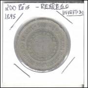 1895 - 200 Réis, REVERSO INVERTIDO.