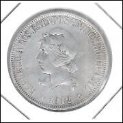 1912 - 1000 Réis, prata, mbc/s, Brasil-República.