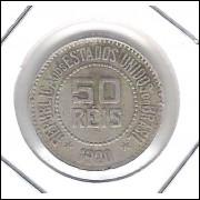 1920 - Brasil, 50 Réis, cuproníquel, mbc.