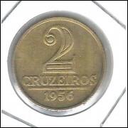 1956 - 2 Cruzeiros, BRASÃO, bronze-alumínio, FC.