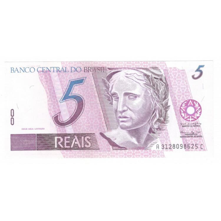 C272 - 5 Reais, AC, 1999, Pedro S. Malan e Armínio Fraga, fe. Garça.