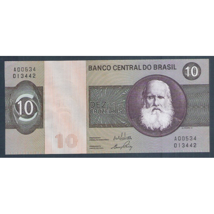 C137 - 10 Cruzeiros, 1970, Estampa A, Delfin Netto e Ernane Galvêas, s-fe. D.Pedro II.