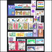 1973 - Coleção dos 56 Selos Comemorativo + 2 blocos, novos.