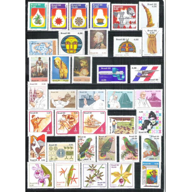 1980 - Coleção dos 49 Selos Comemorativos + 3 blocos, novos.