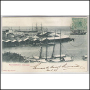 re26 - Cartão postal circulado 1904, Alfandega, Pernambuco. Ed. Ramiro M. Costa.