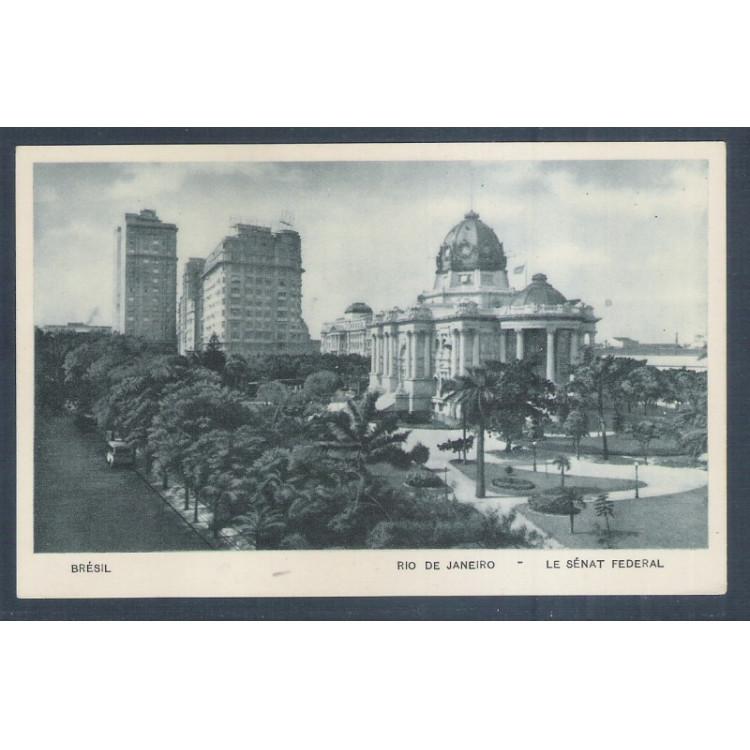 RJ18 - Cartão postal antigo, Senado Federal, Palácio Monroe. Rio de Janeiro. Lito Tipo Guanabara.