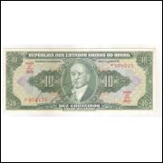 C075 - 10 Cruzeiros, 1950, autografada, 2a estampa, série 387, S/FE Presidente Getúlio Vargas.