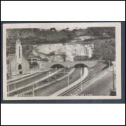 RJ29 - Cartão postal antigo, Túnel do Leme.  Igreja. Rio de Janeiro.