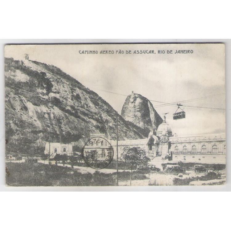 RJ37 - Cartão postal, circulado 1926, Pão de Açúcar. Carros. Rio de Janeiro. A. C. da Costa Ribeiro.