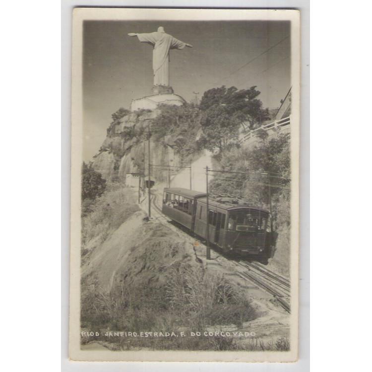 RJ39 - Cartão postal antigo, Estrada de Ferro do Corcovado. Trem. Rio de Janeiro.