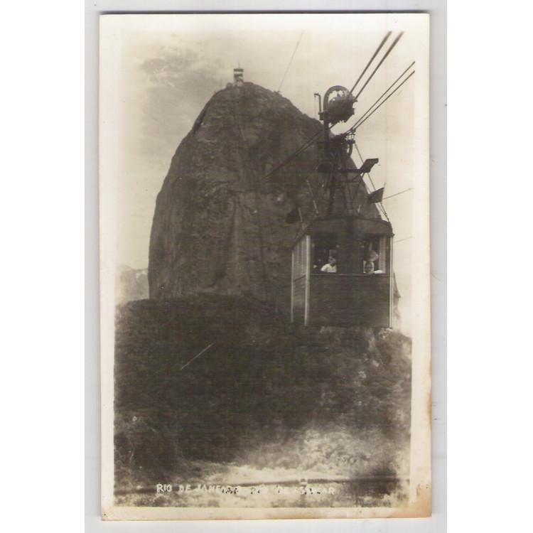 RJ46 - Cartão postal antigo, Pão de Açúcar, Bondinho, Rio de Janeiro. Wessel.