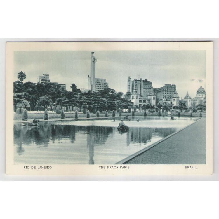 RJ52 - Cartão postal antigo, Praça Paris, Rio de Janeiro. Lito-tipo Guanabara.