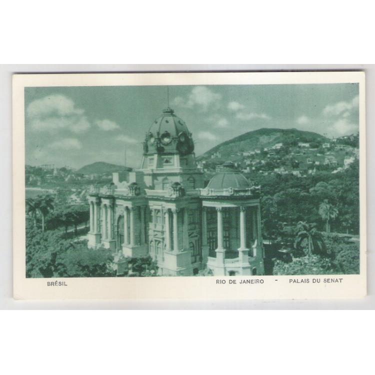 RJ59 - Cartão postal antigo, Palácio do Senado - Monroe, Rio de Janeiro. Lito-tipo Guanabara.