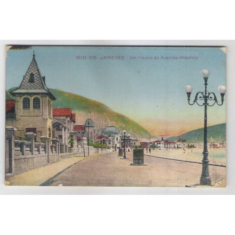 RJ60 - Cartão postal antigo, Avenida Atlântica, Copacabana, Rio de Janeiro.