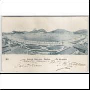 RJ63 - Cartão postal antigo, circulado 1908, Avenida Beira Mar, Botafogo, Rio de Janeiro. A. Ribeiro