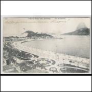 RJ64 - Cartão postal antigo, circulado 1912, Avenida Beira Mar, Botafogo, Rio de Janeiro. A. Ribeiro
