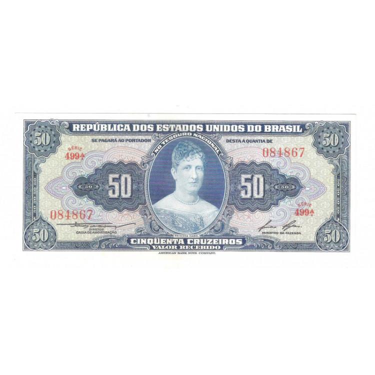 C026 - 50 Cruzeiros, 1956, 1a estampa, Valor Recebido, FE, Princesa Isabel.