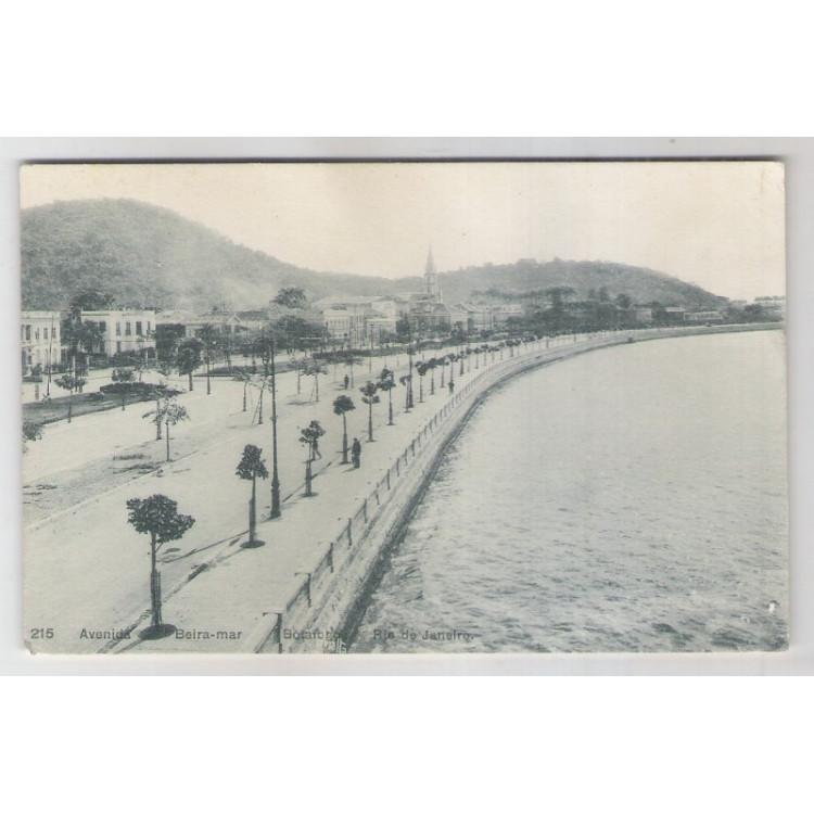 RJ73 - Cartão postal antigo, Avenida Beira Mar, Botafogo, Rio de Janeiro. A. Ribeiro.