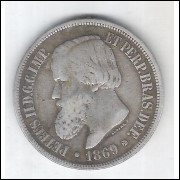 1869 - 1000 Réis, prata, mbc , Brasil-Império, Dom Pedro II.