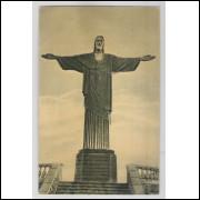 RJ74 - Cartão postal antigo, Monumento do Cristo Redentor, Rio de Janeiro. Ind. Gráfica Siqueira-SP
