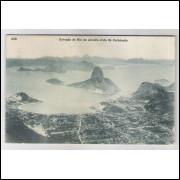 RJ77 - Cartão postal circulado em 1910, Entrada da Baia vista do Corcovado, Rio de Janeiro.
