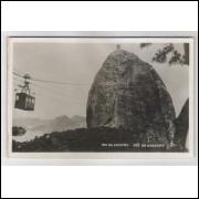 RJ81 - Cartão postal antigo, Pão de Açúcar, bondinho, Rio de Janeiro. Essel.