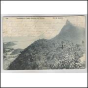 RJ91 - Cartão postal circulado 1910, Corcovado e Lago Rodrigo de Freitas, Rio de Janeiro. A. Ribeiro