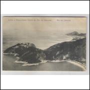 RJ99 - Cartão postal circulado 1924, Leme e Copacabana vistos do Pão de Acúcar, Rio de Janeiro.