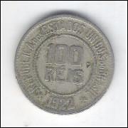 1922 - Brasil, 100 Réis, data escassa, cuproníquel, mbc.