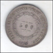 1853 - 500 Réis,  prata, mbc/s, Brasil-Império, Dom Pedro II.