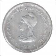 1889 - 1000 Réis, prata, mbc, Brasil-República.