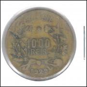 1929 - Brasil, 1000 Réis, data escassa, bronze-alumínio, bc.
