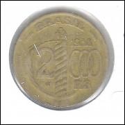 1938 - Brasil, 2000 Réis, Caxias, serrilhada, bronze-alumínio, mbc.