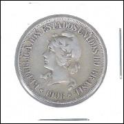 1906 - 500 Réis, prata, mbc, Brasil-República.