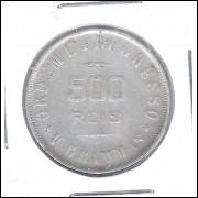 1908 - 500 Réis, REIS SEM ACENTO, prata, mbc, Brasil-República.