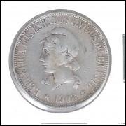 1908 - 1000 Réis, prata, mbc, Brasil-República.