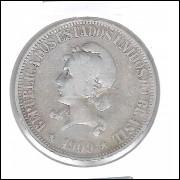 1909 - 1000 Réis, prata, bc, Brasil-República.