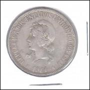 1911 - 1000 Réis, prata, mbc, Brasil-República.