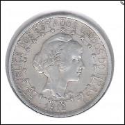1912 - 1000 Réis, estrelas ligadas, prata, mbc, Brasil-República.