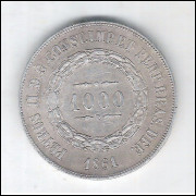 1861 - 1000 Réis, prata, mbc, Brasil-Império, Dom Pedro II.