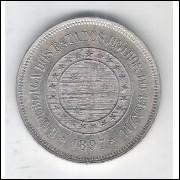 1897 - Brasil, 100 Réis, cuproníquel, S/FC.