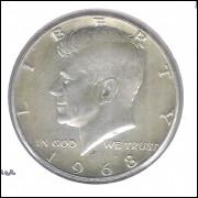 Estados Unidos, Half Dollar, 1968 D, prata, Kennedy, S/FC.