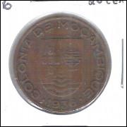 Moçambique (Colônia), 20 Centavos, 1936, bronzel, mbc.