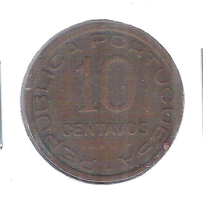 Moçambique (Colônia), 10 Centavos, 1936, bronze, mbc.